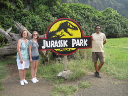 Photo of Oahu Lost Tour and Other Hawaii Movie Locations by Hummer Jurassic Park sign on Kualoa Ranch.