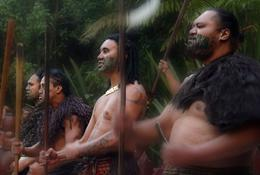 Maori men during the welcoming ceremony on our arrival at Tamaki village., Rossa R - April 2010