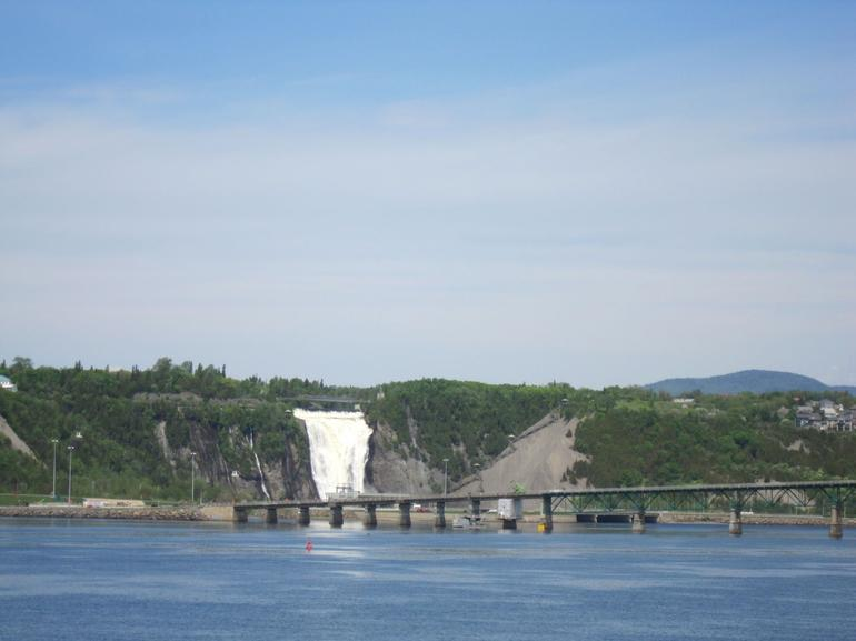 View of Montmorency Falls from cruise boat