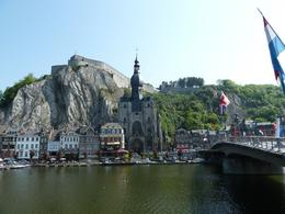 Traveling to Luxembourg: Across the Meuse River, on the other side of a bridge lined with saxophones, lies the other half of Dinant, Anne K - May 2011