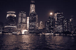Downtown Manhattan and Freedom Tower with special effect taken during Dinner Cruise. , INGO K - October 2013