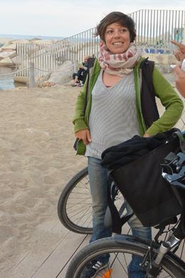 Our Tour Guide and Barcelona eBikes co-owner, Maria, on the eBike, wine and tapas tour. This was taken on the beach on November 1, 2014. , Kristen O - January 2015