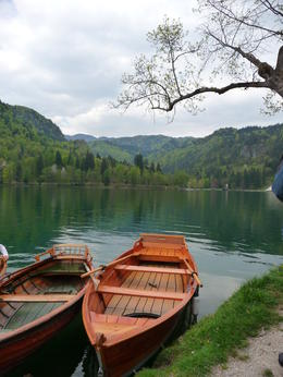 Photo of Slovenia Bled and Bohinj Valley Tour from Ljubljana Pletna boats at Bled