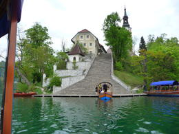 Photo of Slovenia Bled and Bohinj Valley Tour from Ljubljana Arriving at the island.