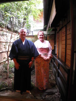 Photo of Kyoto Japanese Tea Ceremony with a Tea Master Posing outside the Tea house