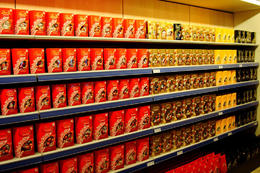 Photo of   Rows of Lindt chocolate at Lindt & Sprungli chocolate factory