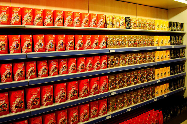 Rows of Lindt chocolate at Lindt & Sprungli chocolate factory - Zurich