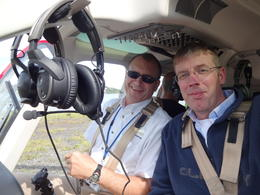 Quick picture of the captain and me during his pre flight check. , CT - April 2014
