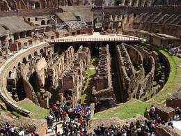 Below the floor of the Colosseum where the slaves, fighters and animals were kept prior to combat. - April 2008
