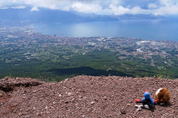 Our travel companions - Puke and Harold looking south across to he bay from the crater , Peter K - June 2016