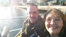 My husband and I looking at the beautiful scenery and sunset aboard the boat. , Sharon S - October 2015