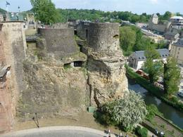 Remains of Luxembourg's original 12-century castle still cling to the cliff walls. , Anne K - May 2011