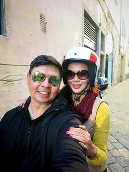 Selfie before riding the scooter. , Fiona V - November 2014