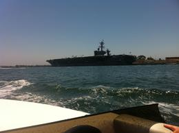 Photo of San Diego San Diego Harbor Speed Boat Adventure Flying past the aircraft carriers