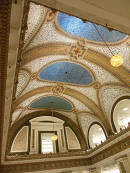 Fabulous tiffany glass ceiling at the orginal Macy's store in Chicago , Patricia J G - November 2012