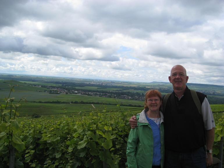 My wife and I in the Champagne region of France. - Paris