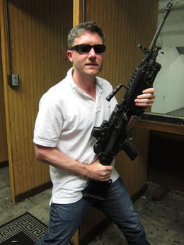 Jeff with his semi-automatic, JennyC - October 2011