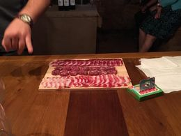 Allesandro picked up some great cold cuts from the butcher shop in Greve in Chianti to pair with our last tasting. Included capiccola and wild boar salami , Matt B - June 2016