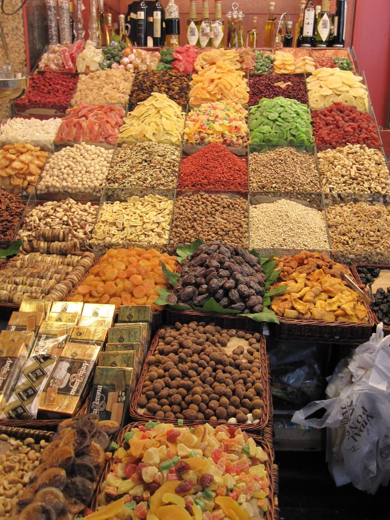 Dried fruit stall at Boqueria market - Barcelona
