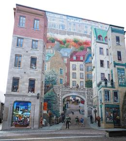 This is a beautiful fresco that covers an entire side of a building in the and quot;lower Quebec City and quot; known as Petit Champlain. It is very realistic and colorful. The harbor where ... , Marilyn B - November 2013