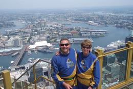 Anne and Gordon enjoyed this once in a lifetime experience walking on the outside of Sydney Tower - December 2009