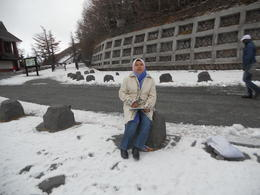 Myself with snow at Fifth Stop at Mount Fuji. I was lucky since the sky was clear and managed to reach the Firth Stop, unless if yoy go during summer, you can walk to reach the peak. , Nor Asiah M - December 2012