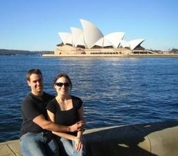 Me & James - Taking a few iconic shots for the Facebook album on our Sydney guided walking tour!, Joyce S - May 2009