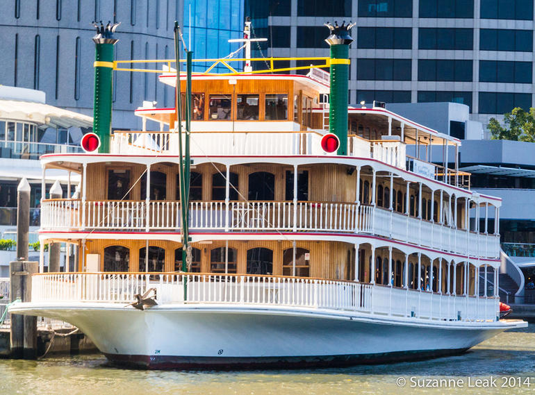 Paddlesteamer docked at Eagle Street Pier waiting for the next cruise. Very enjoyable day!