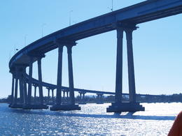 San Diego Harbor Tour - Friday, August 15, 2014. Cabrillo Bridge to Coronado Island as seen just after passing under it from the tour boat. , Carrie Mc - August 2014