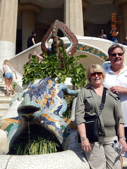 This photo was taken at Park Guell, a place designed by Gaudi, only one of many beautiful sites we visited on Bacelona , Harry R - June 2015