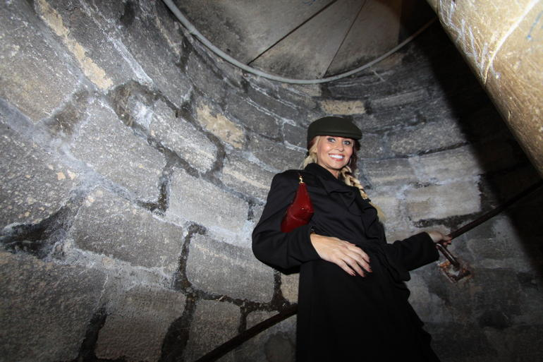 My lovely girlfriend exiting the spiral staircase out of the Catacombs