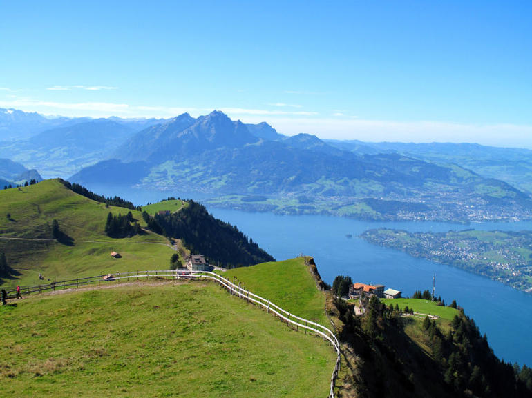 Fantastic panoramic view from Mount Rigi on Lake Lucerne and the Alps in the background
