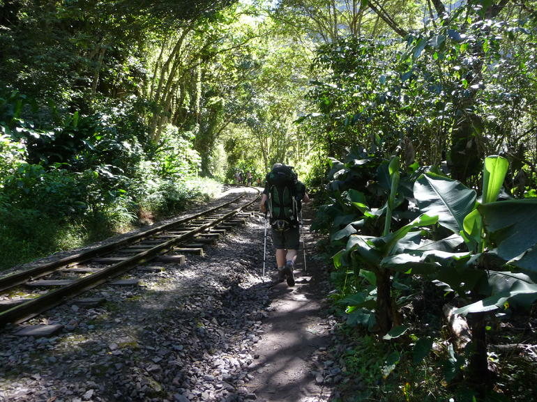 Walking along the railroad tracks toward Aguas Calientes - Cusco