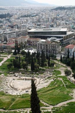 Theatre of Dionysius with new Acropolis Museum in the background - taken from the Acropolis, Benjamin D - March 2010