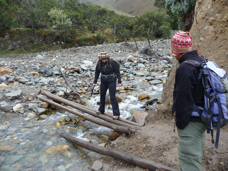 Crossing the first of several makeshift bridges - Cusco