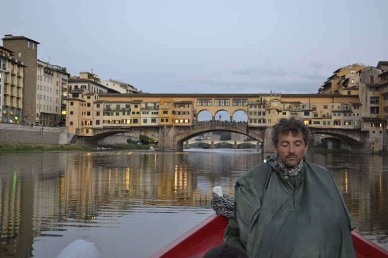The Ponte Vecchio from our barchetto on the Arno.