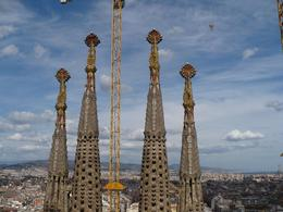 This is the view of the Sagra Familia from on top of the roof., Andrew F - April 2008