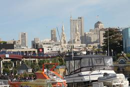 Returning from our Bay cruise to Pier 39 you can see the spires of St. Peter and Paul Church , Linda F - June 2013