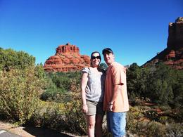 Sara and Freddie with Bell Rock behind them , Sara H - October 2011