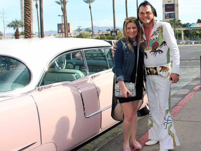 Eddie Powers and I with his pink Cadillac