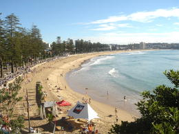 A view of Manly Beach looking North from above the Manly Surf Lifesaving Club at the Southern end of the beach - May 2011