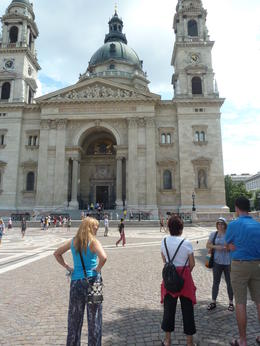 Andi, our guide. Telling our group about St Stephen's Basilica, and the surrounding area. , deborah e - July 2014