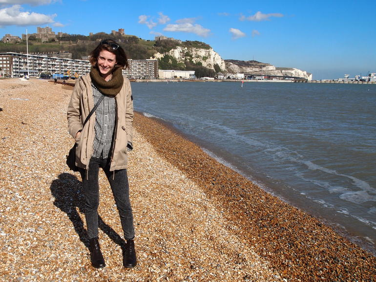 On the beach at the white cliffs of Dover - London