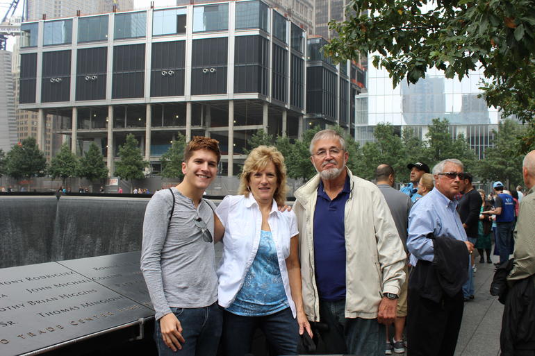 My husband and myself were touring the 9/11 memorial with our son, who is a medical student at New York University. This memorial was a very moving experience.