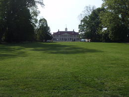 Washington's house from the end of the drive and bowling green. , sj - April 2012