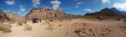 I managed to get this nice panorama shot at our visit in Grand Canyon. Andrew, our nice pilot and my fiancée Eva is seen by the helicopter. , Krister L - October 2015