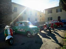 Our little 4-Vespas and 2-Fiat 500s entourage. , Fiona V - November 2014