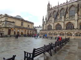 Taken in the center square in view of the Roman Baths and Bath Cathedral , Caren Grace R - December 2015