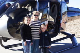 My children Madeline, Sarah and Cayden from left to right very excited to ride in a helicopter over the Grand Canyon , Andrew H - January 2012