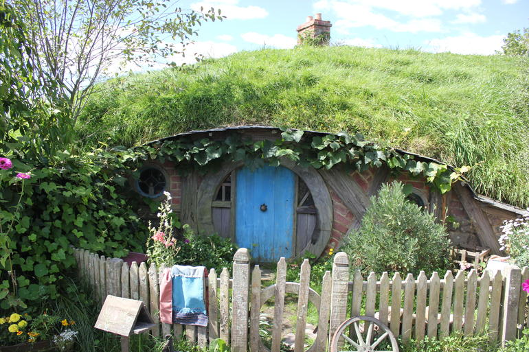 This is one of the many Hobbit Holes that we saw while visiting the Shire.